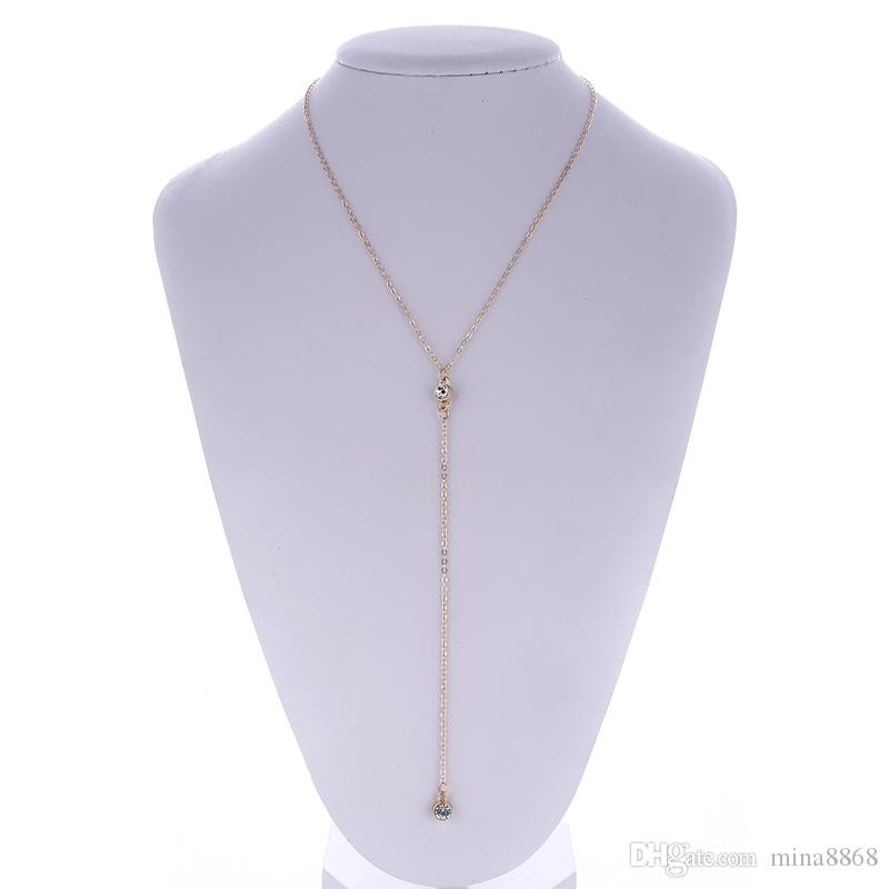 Tiny Sparkling CZ Crystal Choker Necklace Gold/Silver Dainty Everyday women Simple Long Pendant necklace Jewelry wholesale