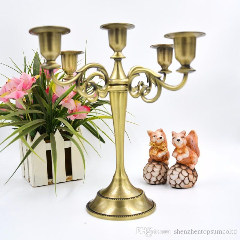Großhandel Großhandel Silber Gold Bronze Schwarz 5 Zweig Metall Kerzenhalter Kerzenständer Dekoration Hochzeit Veranstaltung Kerzenhalter