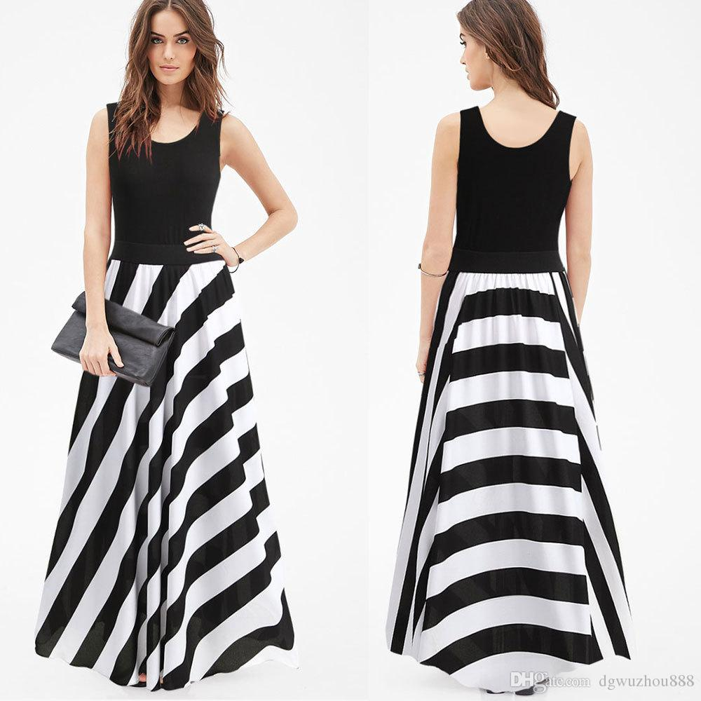 New Black And White Stripes Dresses Summer Sexy Vest Maxi Dress Round Neck  High Waist Irregular Skirt NRE03Y199Z25 Stripes Dresses Maxi Dress Skirt  Online ... e77976e9319e