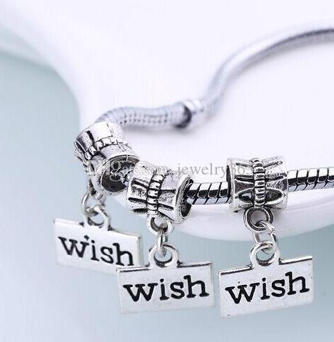 Silver Plated Wish Big Hole Charms pendant Dangle Beads For Bracelet diy Jewelry Making findings