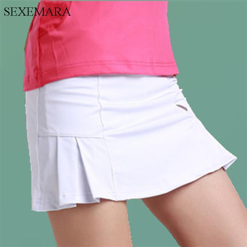 231b3cddb3 2019 Wholesale SEXEMARA Tennis Skirts Women Skorts Girl Badminton Running  Skirt Ladies Tennis Sport Skirts With Panties From Baibuju, $51.04 |  DHgate.Com