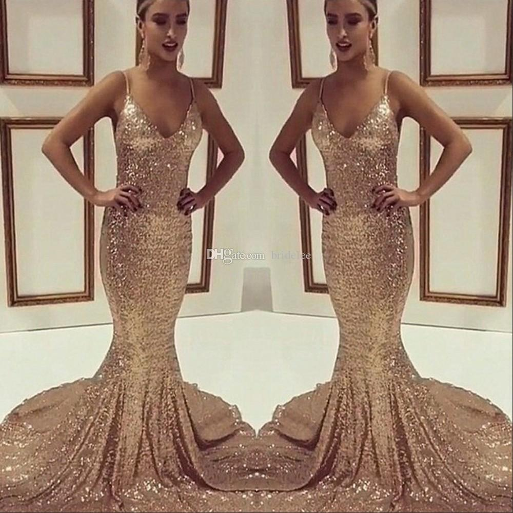 Bling Bling Sparking Sequins Long Mermaid Rose Gold Prom Dresses 2017 Spaghetti Strap V Neck