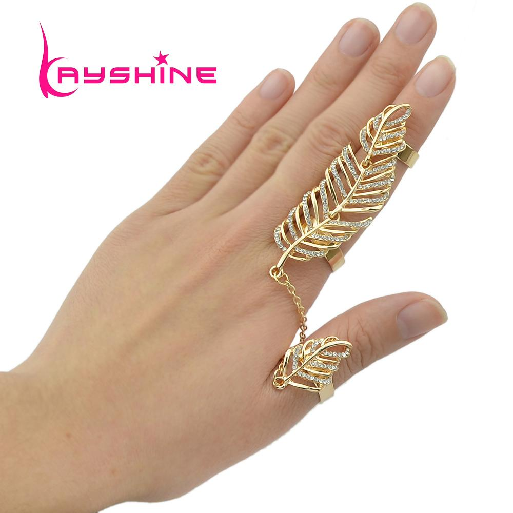 Steampunk Gold Silver Leaf Double Full Finger Ring With Rhinestone ...