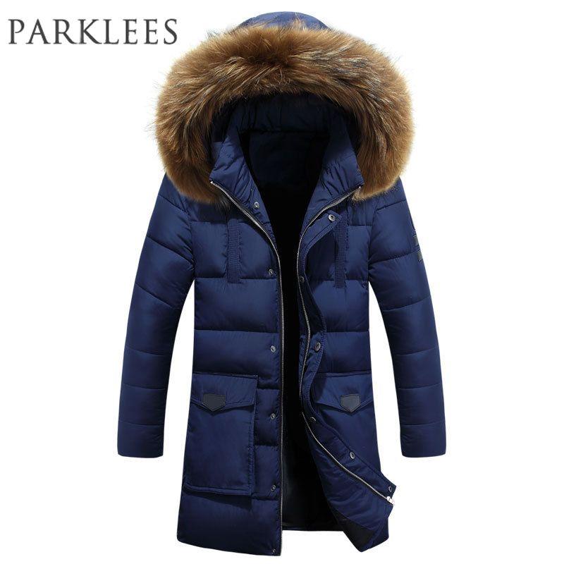 Nueva tendencia Parka azul marino Hombres Doudoune Homme Hiver 2017 Chaqueta de invierno Hombres Moda Big Fur con capucha Chaqueta acolchada de algodón Hombres