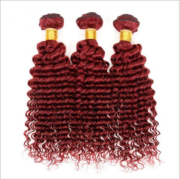 Virgin Brazilian Deep Curly Wave Burgundy Human Hair 3Bundles 9A Grade #99J Wine Red Brazilian Virgin Human Hair Extensions