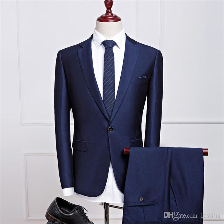 Dark Blue Coat Pant Men Suit Business Formal Blazer And Pants Wedding Suits 2018 L-1690 Suits ...