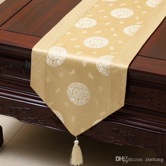 Extra Long 120 Inch Lucky Patchwork Table Runner Chinese Style Luxury Silk  Brocade Table Cloth High End Dining Table Protective Pads 300x33 90 Inch  Table ...
