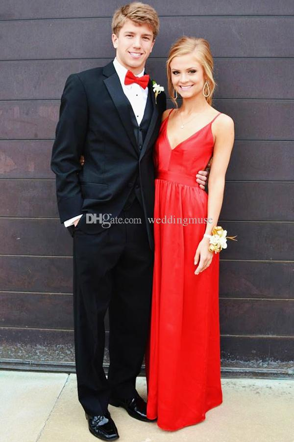 Red Sexy V-neck Prom Dresses 2019 A Line Spaghetti Straps Floor Length Backless Satin Long Party Dress Plus Size Prom Evening Dresses