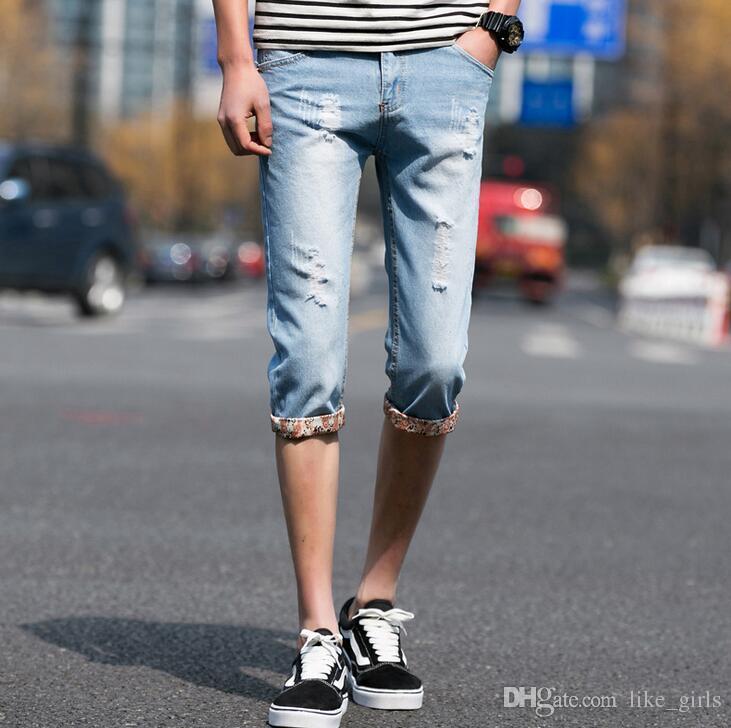 Yeni varış Retro bahar ve yaz erkek pantolon mikro-elastik kot JM020 erkek Kot