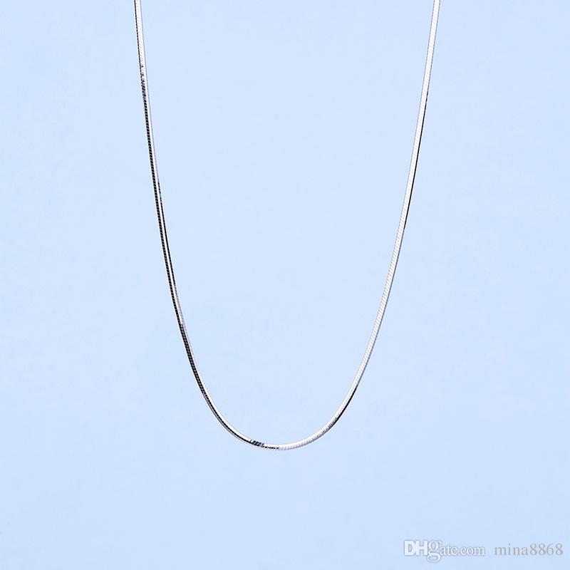 Wholesale 925 Sterling Silver Snake Chain Necklace Genuine Solid Classic Silver/Gold/Rose gold Color 0.9MM 45CM Clavicle Necklace