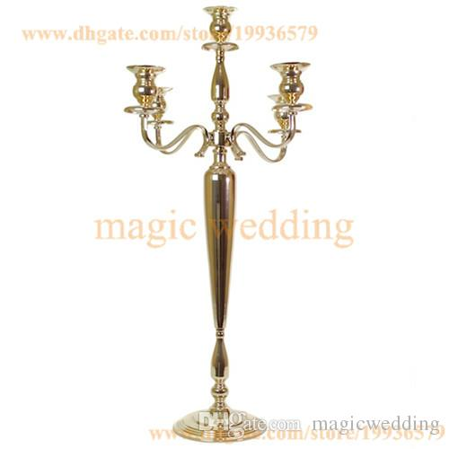 """33"""" tall 5 Arm Candelabra Metal Crystal Prisms Victorian Paris Candlestick in Soft Gold And Silver"""