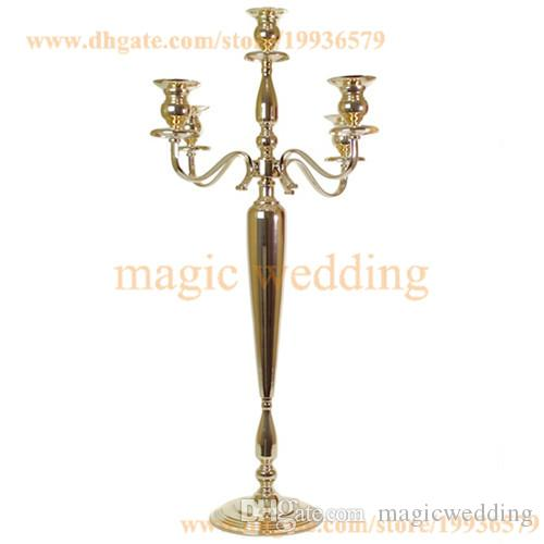 "39"" tall 5 Arm Candelabra Metal Crystal Prisms Victorian Paris Candlestick in Soft Gold And Silver"