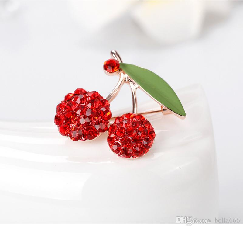 Fashion Women High Grade Alloy Rhinestone Red Glowing Cherry Brooches Pin Gold Plated Enamal Corsage Jewelry Accessory