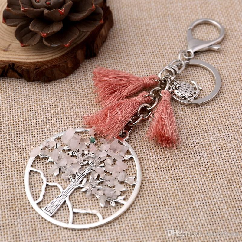 Life of Trees Tassel Keychain Pendant Tree of Life Crystal Gemstone Chakra Jewelry Key Chain Ring Keyring Keyfob Key Holder B127S
