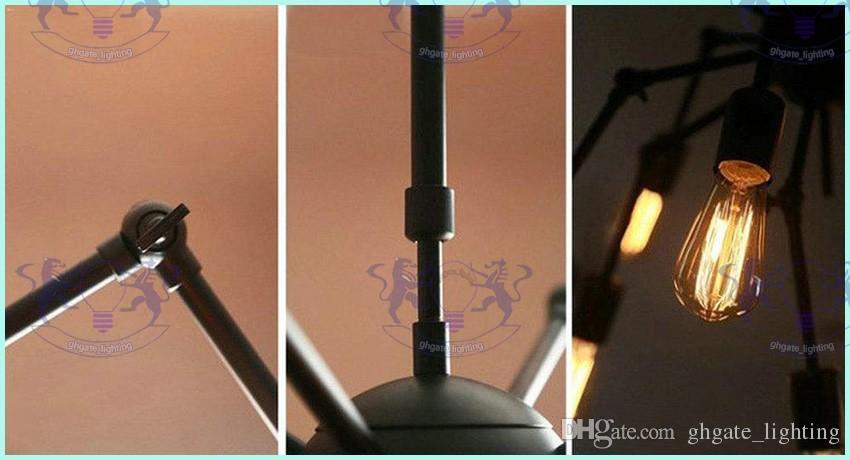 Aranha Lustre Luminária de ferro forjado Do Vintage Loft Estilo Americano Luminária 8/12 luzes Frete grátis