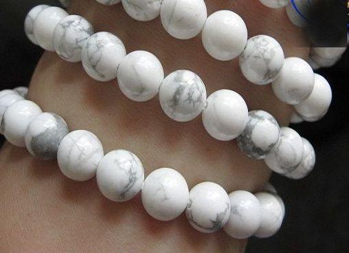 weißer Kornarmbandnaturstein streckt Mannarmband elastisches pulserase Schmucksache-runde Ballcharme neue Art und Weise
