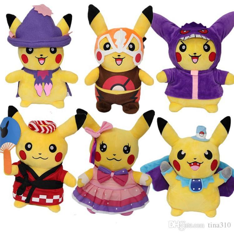 New 6 styles cute Pikachu Plush Toy Animals Muppet toys Kids Best Birthday  Gift Toy IA723