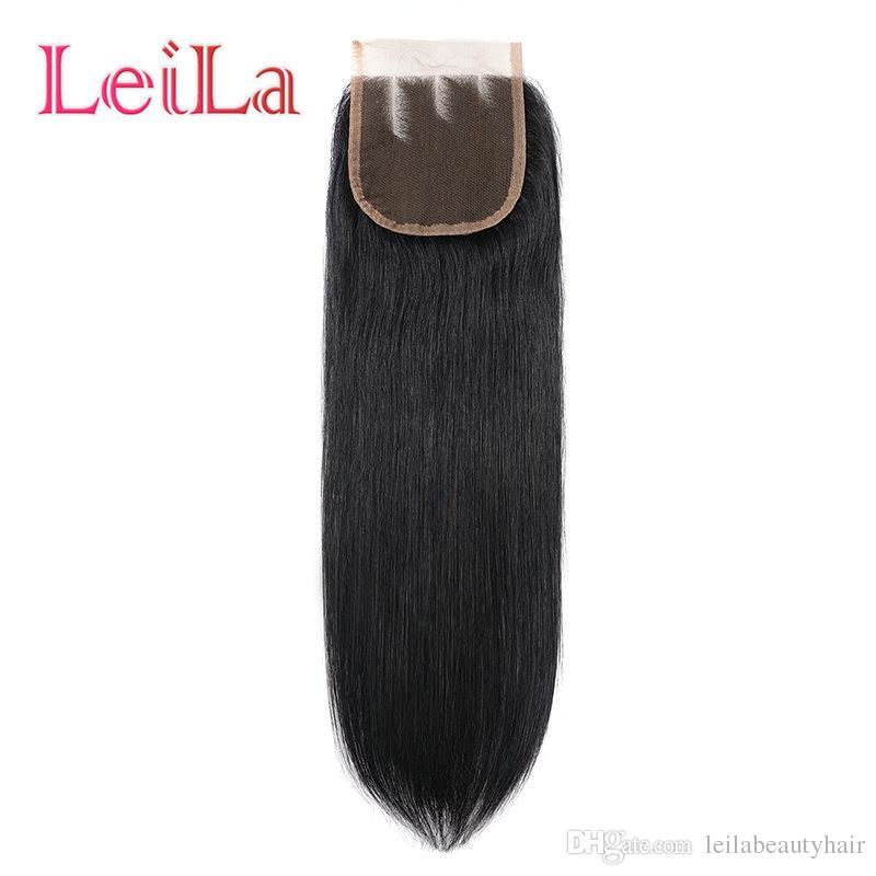 Perulu Düz Saç Demetleri Ile Kapatma 4 adet İnsan Saç Dantel Kapatma Ile 100% Işlenmemiş Düz Saç Örgüleri Ile 4X4 Kapatma