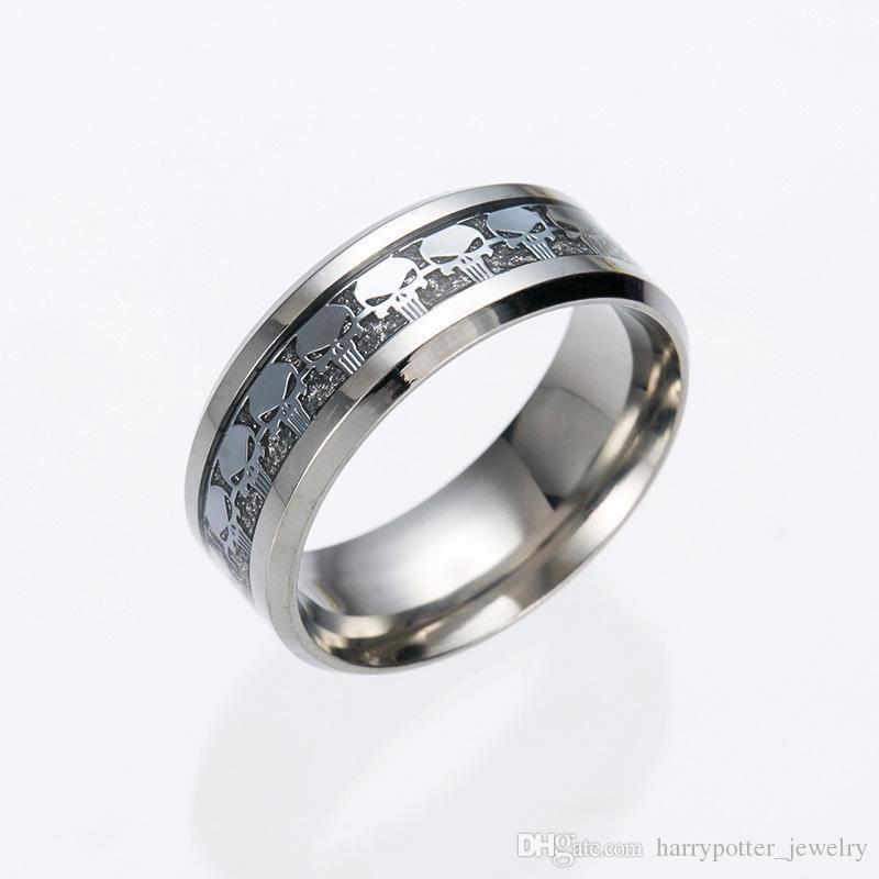 Anéis de Aço Inoxidável crânio Wedding Band Anel para as mulheres unisex homens presente jóias dos homens Filme Superman Logo Anel Drop Ship 080182