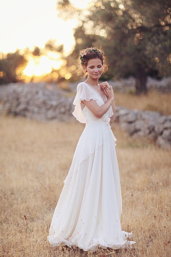 Abiti da sposa stile hippy bohemien 2021 spiaggia A-line Abito da sposa abito da sposa Abiti da sposa Backless Bianco Pizzo Chiffon Boho