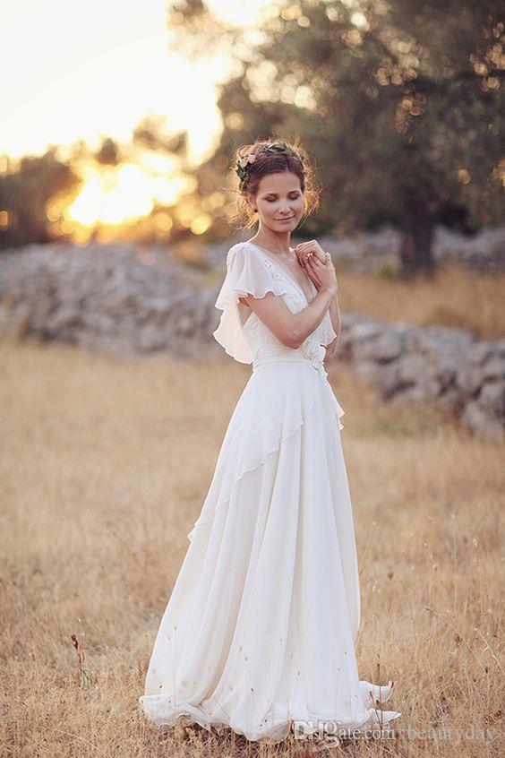 Vestidos de novia de estilo hippie bohemio 2021 Playa A-Line Vestido de novia Vestidos nupciales Backless Lace Chiffon Boho