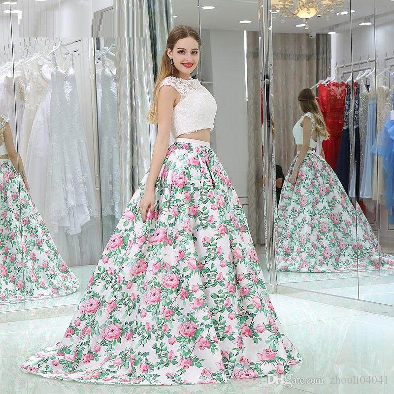 Floral Print A Line Evening Dress Long Cap Sleeve Two Piece Prom ...