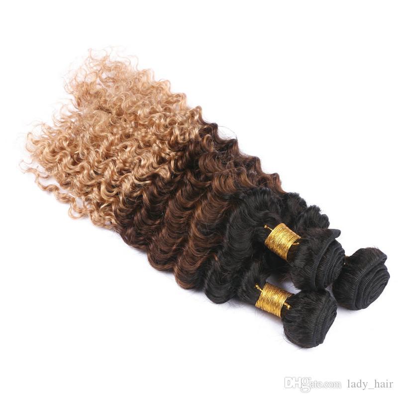 Derin Dalga Üç Ton Renkli Insan Saç Demetleri 3 Adet Bakire Perivuan 1B / 4/27 Bal Sarışın Ombre İnsan Saç Uzantıları Uzantıları