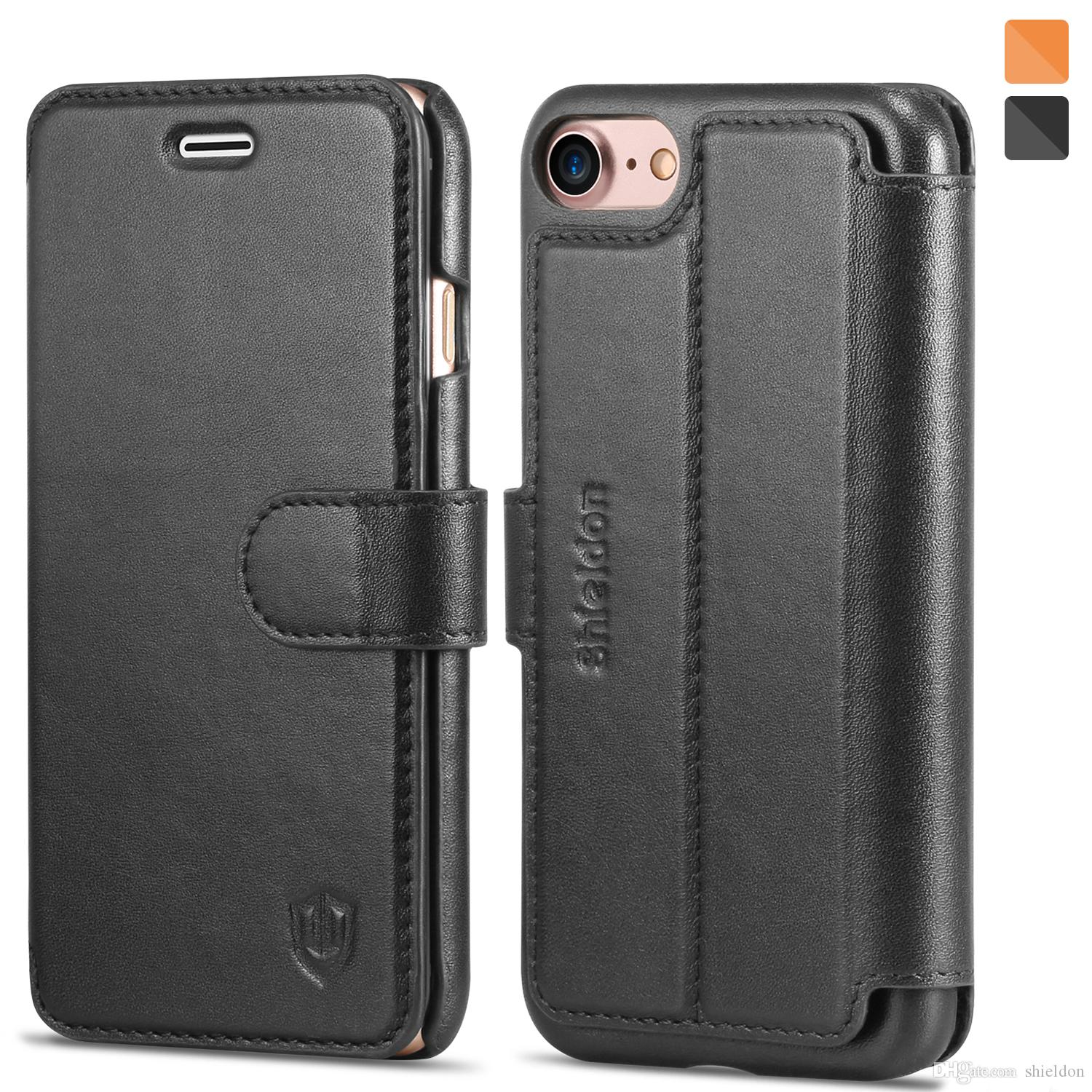 cool shieldon genuine leather iphone 7 wallet case magnetic