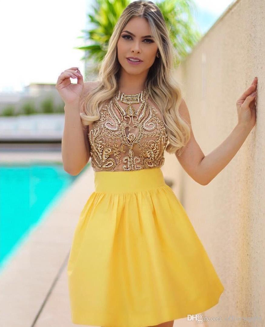 2020 Major Beading Sweet 16 Старшие платья для выпускников из бисера Кристаллы из бисера Прозрачные короткие выпускные платья Мини-коктейльные платья
