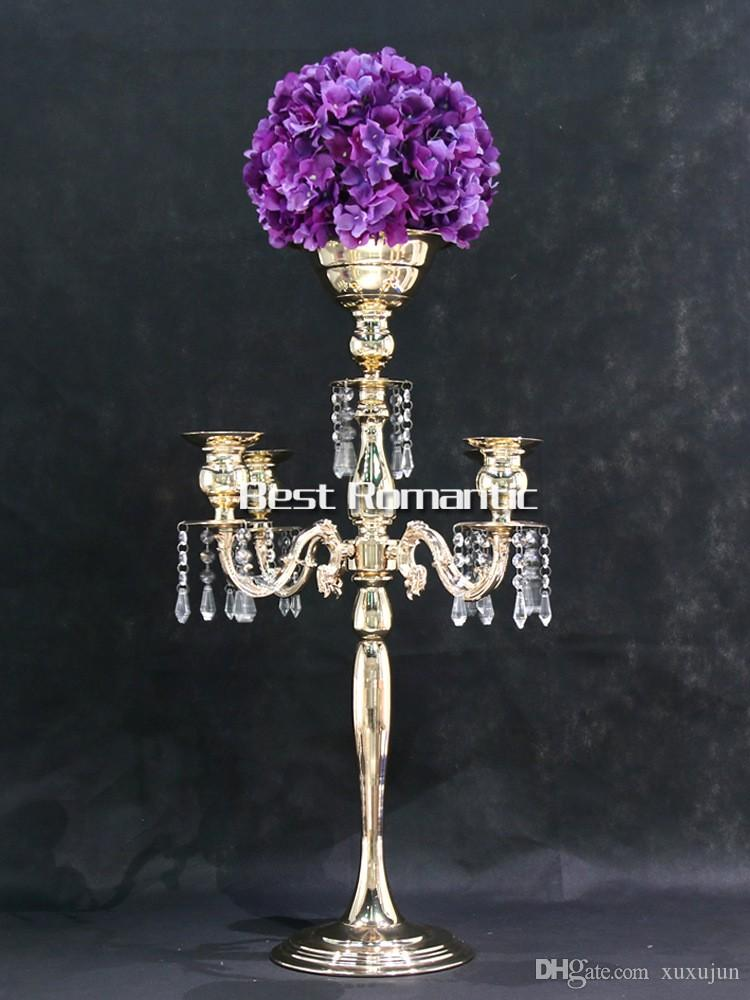 Silver Height 76cm gold 5 Heads Crystal Candelabra, Candle Holder, wedding  Centerpiece, flower bowl Candle holder with pendants