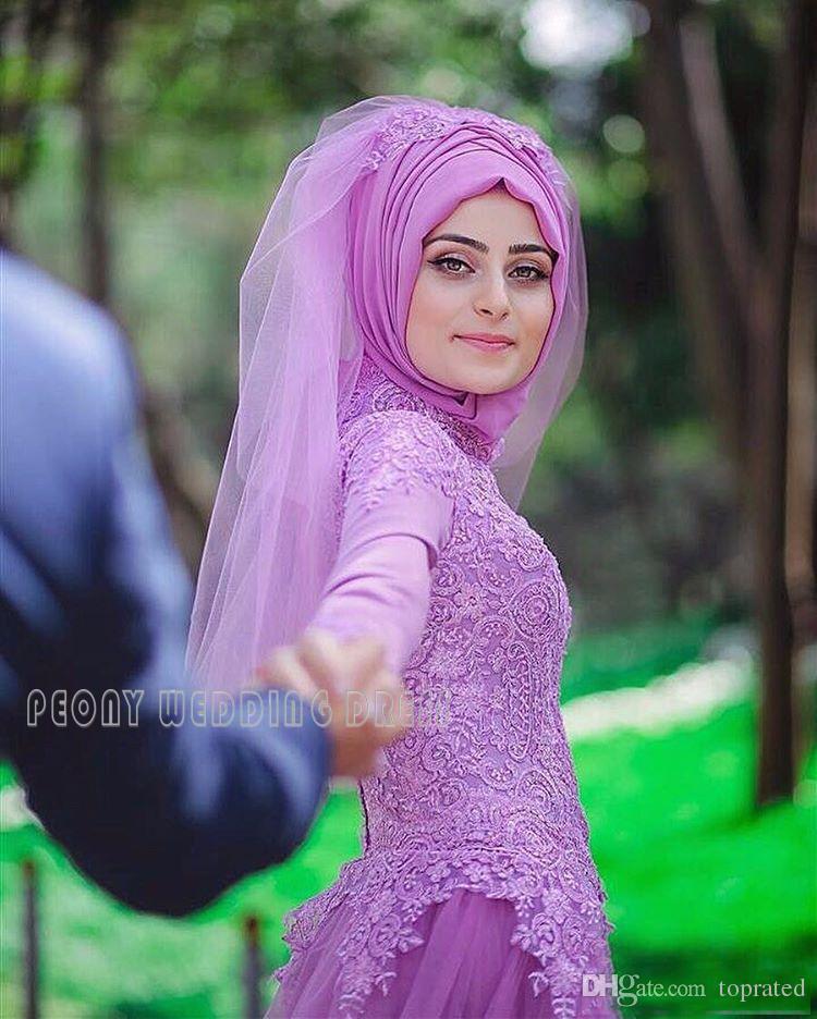 Renkli Mor Dantel Müslüman Gelinlik 2017 Uzun Kollu Ayrılabilir Tren ile Gelin Elbise Artı Boyutu Tül Hicap Müslüman Gelinlikler