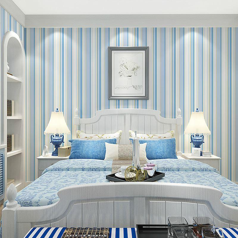 Decorating With Stripes For A Stylish Room: Mediterranean Blue Vertical Stripes Non Woven Wallpaper