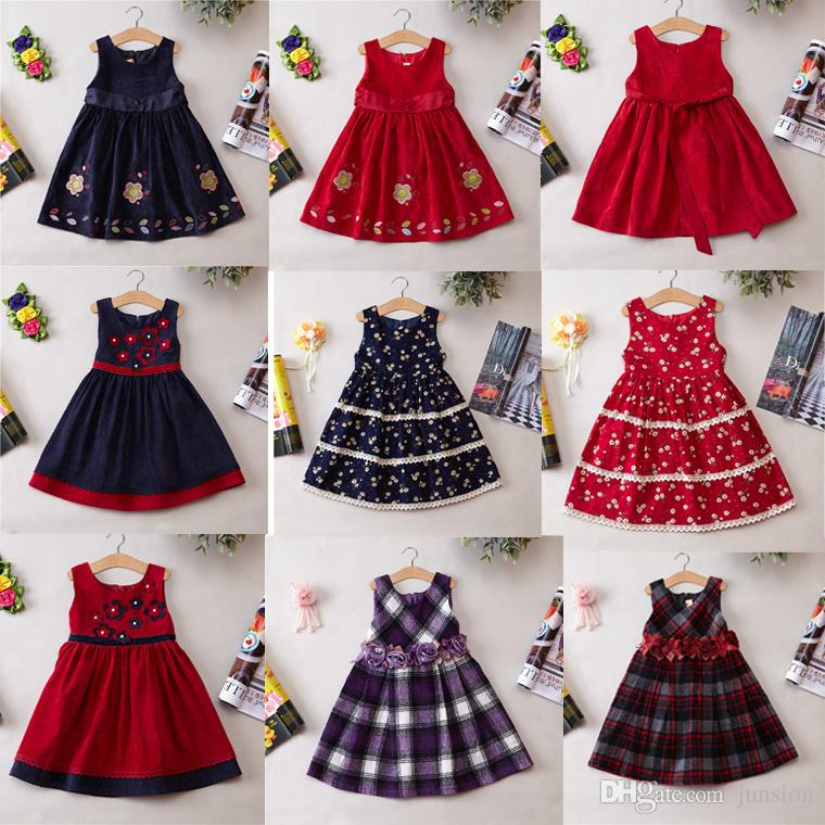 90dc275e4 2019 Girls Winter Dresses Baby Denim Dress Hot Sail Flower Dresses ...