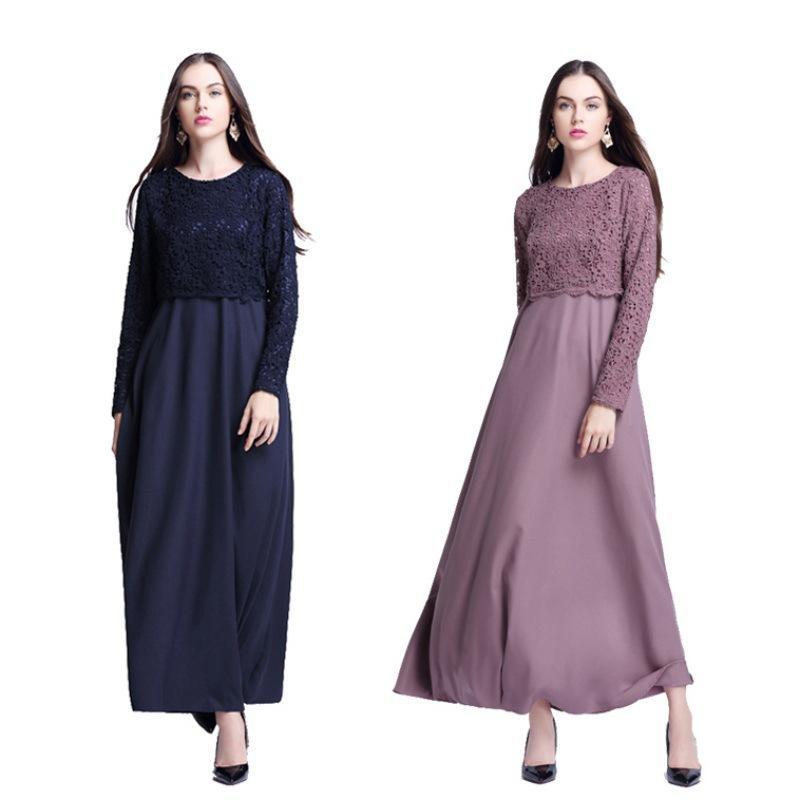 7eeb96b569236 Fashion Fake Lace Top Abaya Clothing Turkish Muslims Dresses Plus Size Women  Abaya Dresses Adult Islamic Robe Femme 2017 Long And Short Dresses Black  Dress ...
