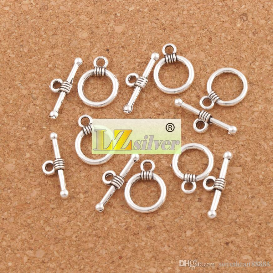 Гладкое кольцо Браслет Пуговицы Застежки Тибетское серебро / бронза Фурнитура для ожерелья и браслетов DIY L830 11X15 мм