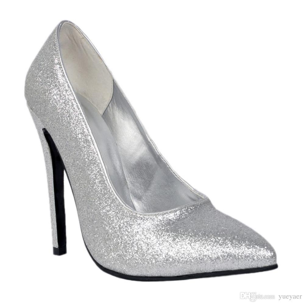 Zandina Womens Whole Sale Moda Handmade 10 cm de Salto Alto Glitter Partido Escritório Bombas Sapatos de Prata XD031