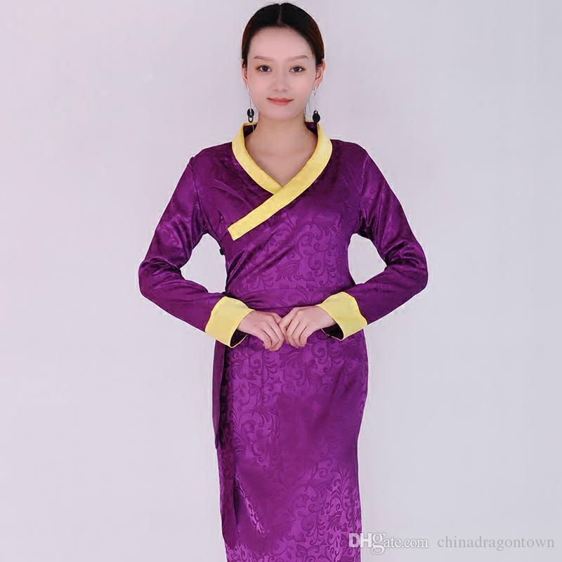 8f669121725 Acheter Robe Traditionnelle Chinoise Robe Mongole Tibétaine Costume  National Femmes Mongolienne Élégante Robe Longue Robe Minoritaire Vêtement  Vêtements ...