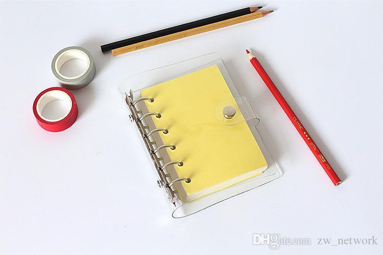 A5 / a6 / a7 pvc دفتر غطاء ملف مجلد ورقة قذيفة مكتب المدرسة القرطاسية شفافة موجزة 6 ثقوب الموثق مخطط غطاء الحصول حاكم مجانية