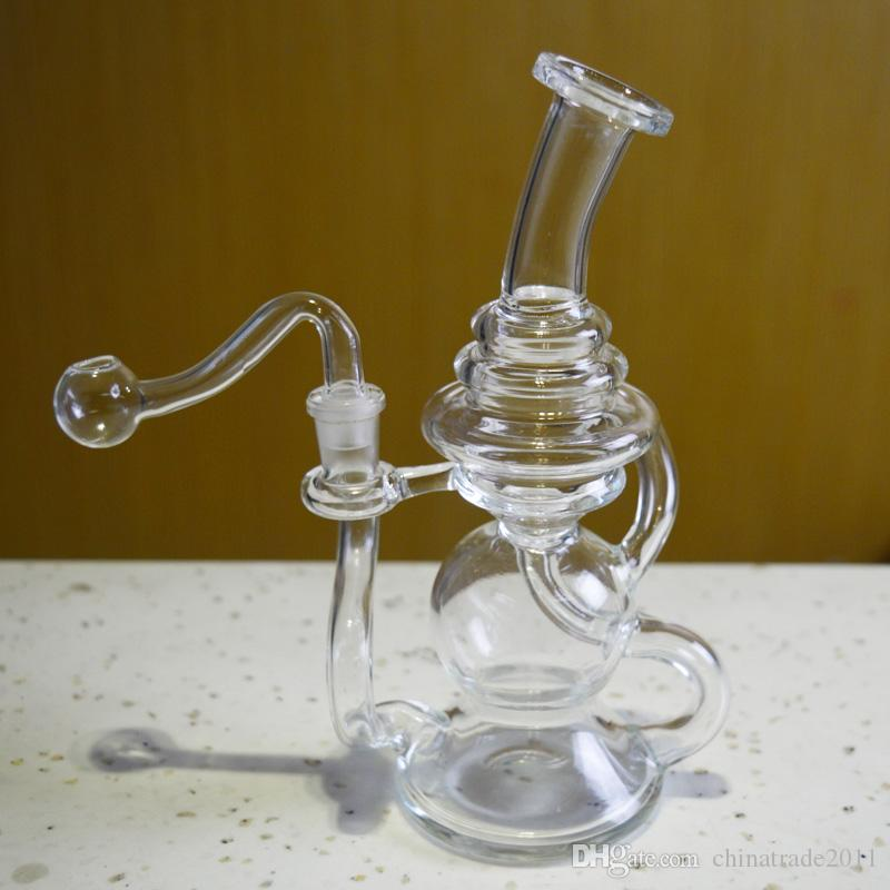 """Double Recycler Glass Bongs Water Pipes for Smoking 6"""" inch Tall Portable Recycler Dabber Oil Rigs Thick Beaker Bong Glass Hookahs"""