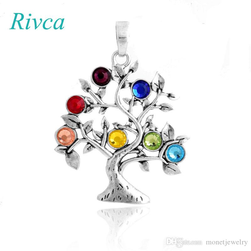 A0095 Rivca Natural Crystal 7 Chakra Stone Life Tree Necklace For Women Natural Reiki Symbols Jewelry Yogo Energy Pendant Amulet