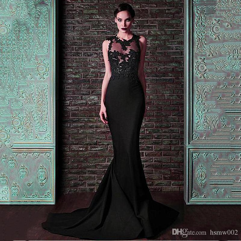 Elegant Black Satin Jewel Neckline Mermaid Evening Dress Charming Lace Appliques Prom Party Dresses Illusion Evening Gowns