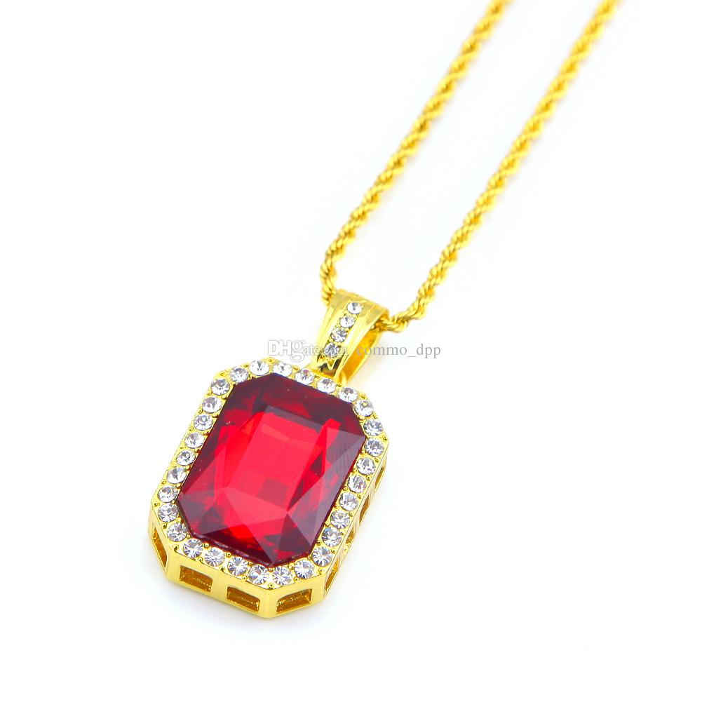 Hip hop Jewelry Square Ruby sapphire Red Blue Green Black White gems crystal pendant Necklace 24 inch Gold Chain For Men Fashion Jewelry