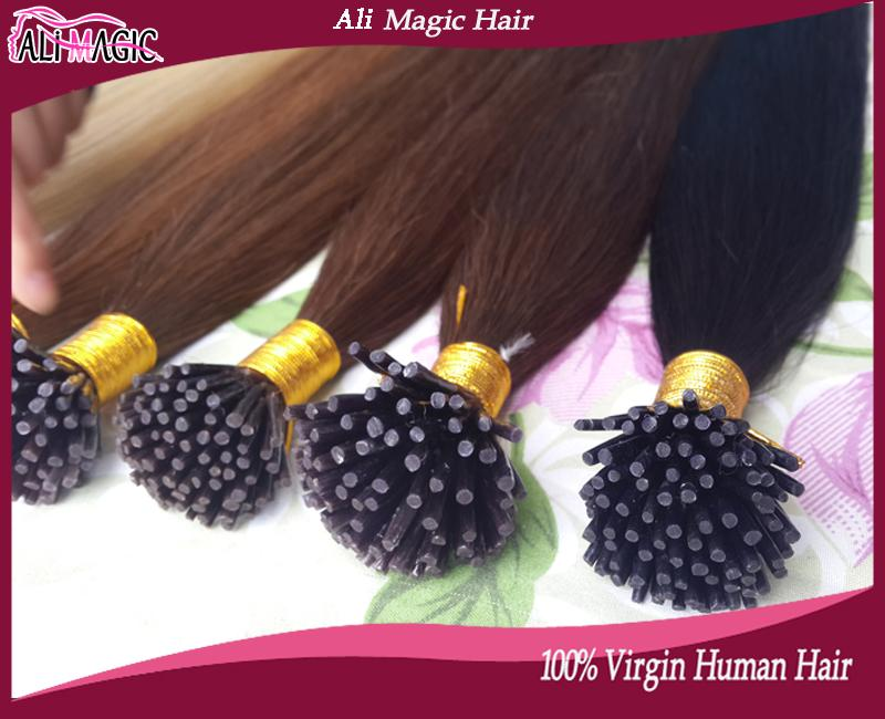 "Hot Sale Ali Magic Factory Outlet Keratin Tipped Hair Extensions I Tips Hair 100% Human Hair Straight 1g 20""22""24"""
