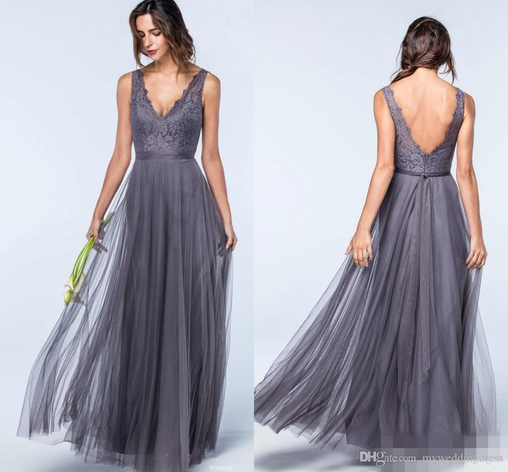 2018 sexy cheap v neck grey top lace bridesmaid dresses long 2018 sexy cheap v neck grey top lace bridesmaid dresses long formal dress for wedding prom party dress backless tulle gala bridesmaids gowns fuschia ombrellifo Images