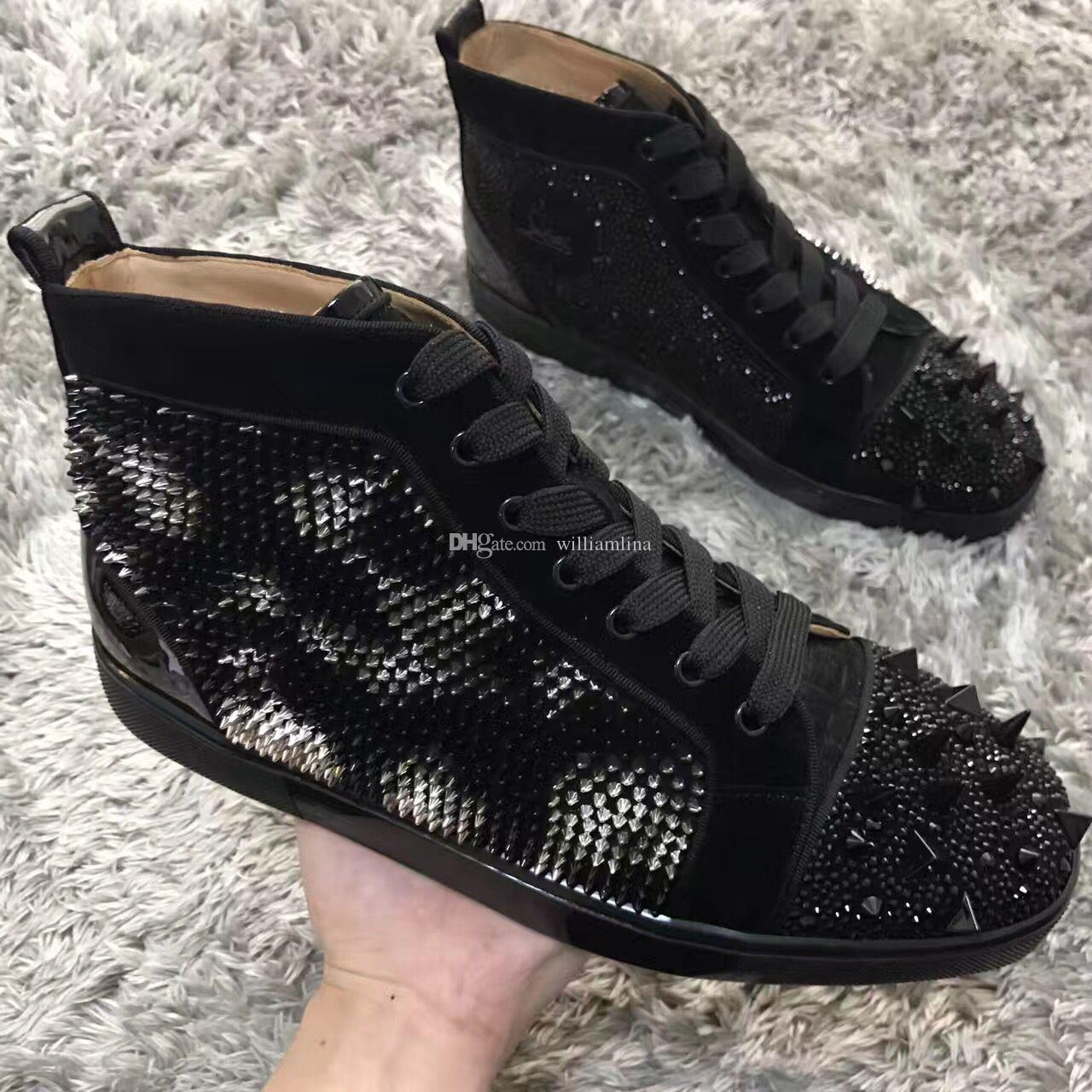 e1b8b300e41d Size 35 47 Gold,Sliver Spikes Sneakers Shoes Men,Women Leisure Flats Black  Diamond Red Bottom Strass Sneaker Shoes Party Dress Luxury Winter Shoes For  Sale ...