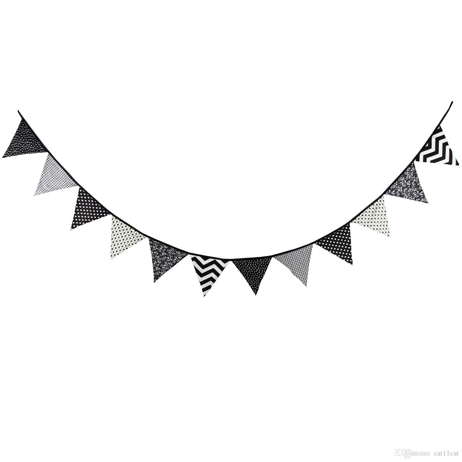 12 Flags 3.2m Special Black and White Cotton Fabric Bunting Pennant Flags Banner Garland Baby Shower/Outdoor Tent Decoration