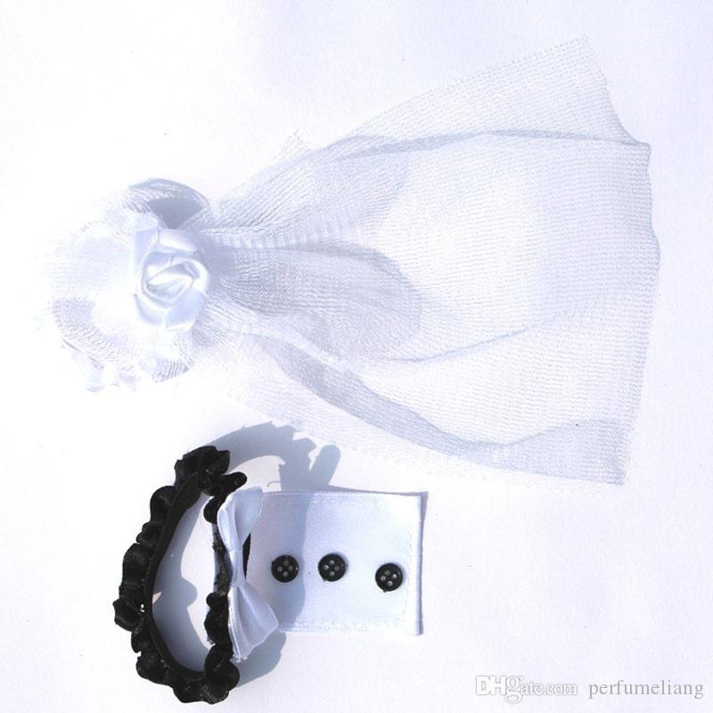 Wedding Party Toasting Wine Glass Covers Bride and Groom Tux Bridal Veil For Wedding Party Decoration ZA3044