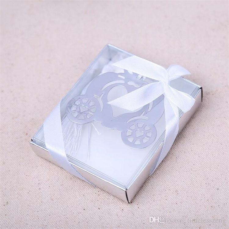 Pumpkin Carriage Bookmark Metal Bookmark Gift Box Packing Wedding Favors Party Decoration Supplies Wedding Gifts For Guests
