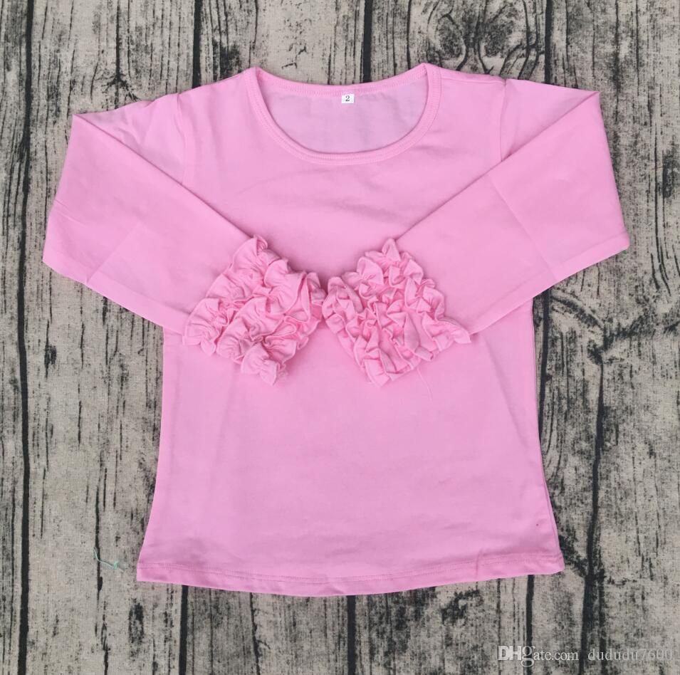 2d4d1cae8ee Solid Blank Shirt Ruffle Sleeve Shirts Girls Casual Style Plain Blouse  Icing Breathable Soft Cotton Top