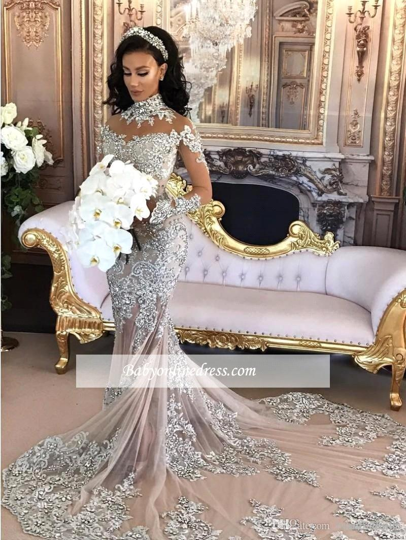 Luxury 2018 Sparkly Wedding Dress Sexy Sheer Bling Beaded ...